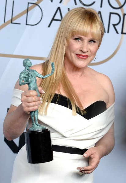 Patricia Arquette appears backstage with the award for Outstanding Performance by a Female Actor in a Miniseries or Television Movie for Escape at Dannemora during the 25th annual SAG Awards held at the Shrine Auditorium in Los Angeles on January 27. The actor turns 51 on April 8. File Photo by Jim Ruymen/UPI.