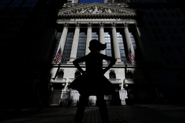 The Fearless Girl statue is seen outside the New York Stock Exchange on Wall Street in New York City on June 12. Photo by John Angelillo/UPI