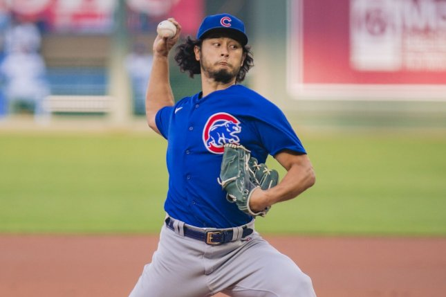 Starting pitcher Yu Darvish led the Chicago Cubs to their six consecutive win Wednesday in Kansas City, Mo. Photo by Kyle Rivas/UPI
