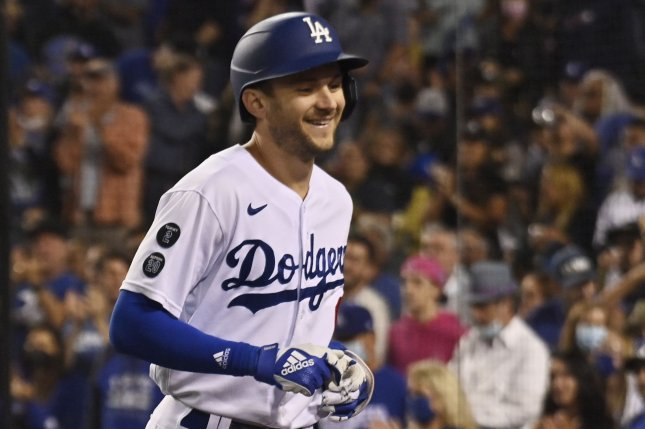 Los Angeles Dodgers second baseman Trea Turner returns to the dugout after hitting a solo home run off Arizona Diamondbacks reliever Jake Faria in the fifth inning Tuesday at Dodger Stadium in Los Angeles. Photo by Jim Ruymen/UPI