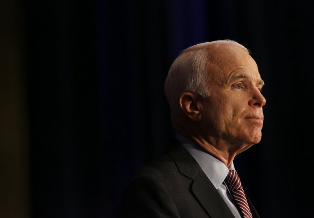 Presumptive Republican presidential nominee Sen. John McCain, R-AZ, pauses as he addresses supporters at the Hilton Americas-Houston Hotel in Houston, Texas on June 17, 2008. McCain spoke about calling for an end to the ban of offshore drilling. (UPI Photo/Aaron M. Sprecher)