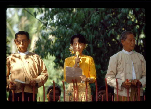 Myanmar opposition leader Aung San Suu Kyi speaks to a crowd in this undated photo. (UPI Photo)
