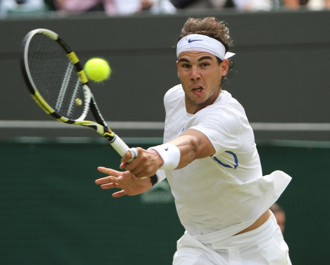 Rafael Nadal, shown during the 2011 Wimbledon Championships, was a straight-set winner Monday as he began his play at the Australian Open. UPI/Hugo Philpott
