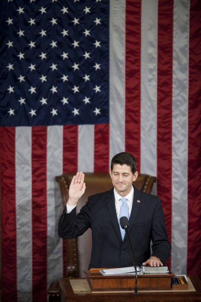 Newly minted House Speaker Paul Ryan, shown here being sworn in on Oct. 29, ruled out Sunday working with the Obama administration on comprehensive immigration reform policy Photo by Pete Marovich/UPI