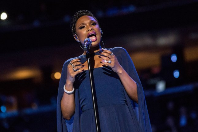 Jennifer Hudson sings Hallelujah prior to a mass led by Pope Francis at Madison Square Garden on September 25, 2015 in New York City. Pool photo by Andrew Burton/UPI