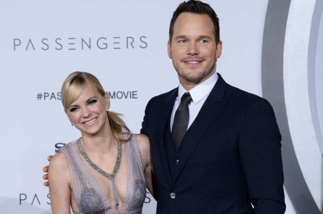 Chris Pratt (R) and Anna Faris attend the Los Angeles premiere of Passengers on December 14, 2016. The actor responded to criticism of his skeletal figure Thursday. File Photo by Jim Ruymen/UPI