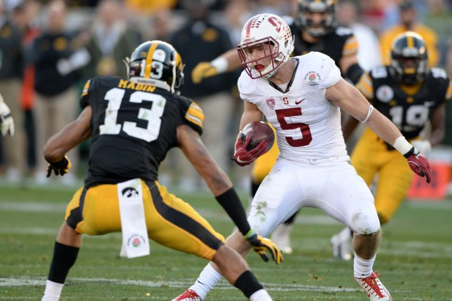 The Eagles are projected to take Stanford running back Christian McCaffrey with their first pick. File photo by Jon SooHoo/UPI