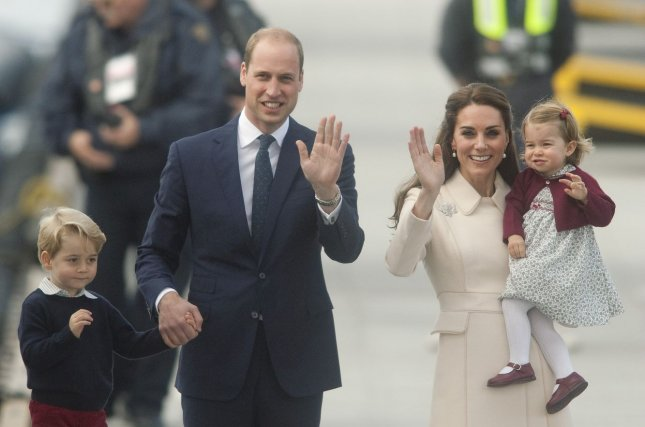 Prince William, Kate Middleton, Prince George and Princess Charlotte wave to fans at Victoria Harbour in Victoria, B.C., on October 1, 2016. Middleton is expected to give birth to her third child in April 2018. File Photo by Heinz Ruckemann/UPI