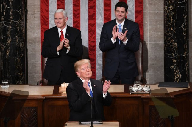 President Donald Trump delivers his State of the Union address to a joint session of Congress in the House Chamber at the U.S. Capitol Tuesday night. Photo by Pat Benic/UPI