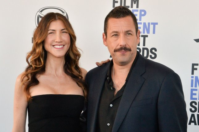 Adam Sandler (R) and his wife Jackie Sandler attend the 35th annual Film Independent Spirit Awards on February 8. Adam Sandler will receive the ASCAP Founders Award at the  2020 Pop Music Awards. File Photo Jim Ruymen/UPI