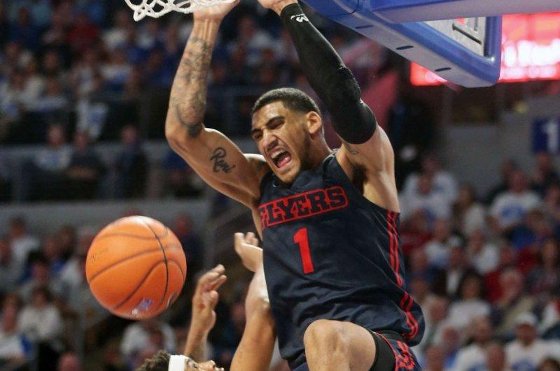 Dayton men's college basketball star Obi Toppin averaged 20 points and 7.5 rebounds per game this past season. File Photo by Bill Greenblatt/UPI