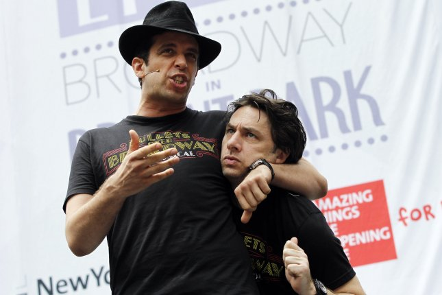 Nick Cordero (L), pictured with Zach Braff, woke up from a medically-induced coma amid his coronavirus battle, according to his wife, Amanda Kloots. File Photo by John Angelillo/UPI