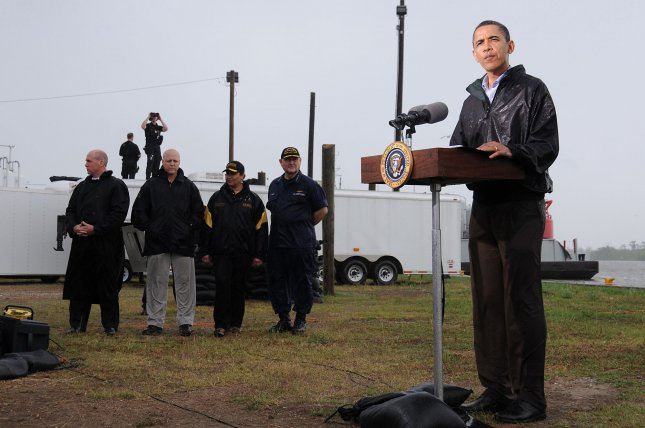 U.S. President Barack Obama addresses the media at Coast Guard Station in Venice, La., on May 2, 2010. Obama conducted a personal assessment of the aftermath of the explosion of a BP oil rig in the Gulf of Mexico, which continues to spill oil into the Gulf, threatening fisheries and beaches. UPI/Patrick Kelley/U.S. Coast Guard
