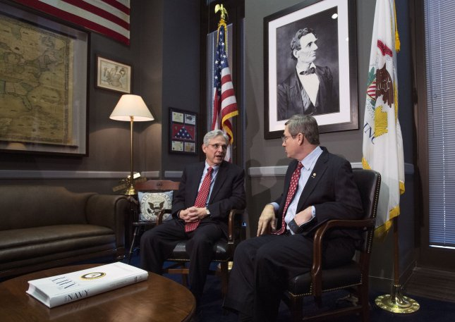 Supreme Court nominee Judge Merrick Garland (L) meets Sen. Mark Kirk, R-Ill.,in Kirk's office Tuesday on Capitol Hill in Washington, D.C. Kirk is the first GOP Senator to meet with Merrick. Some Republican Senators announced they will block any Supreme Court nominee put forth by President Barack Obama. Photo by Kevin Dietsch/UPI
