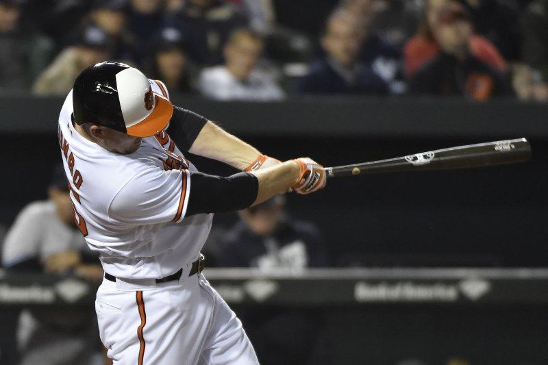 Baltimore Orioles' Mark Trumbo. Photo by David Tulis/UPI