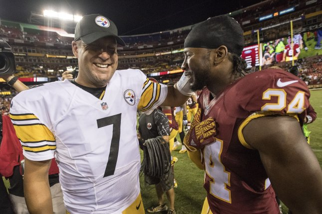 Pittsburgh Steelers quarterback Ben Roethlisberger (7) talks to Washington Redskins cornerback Josh Norman (24) after the Steelers defeated the Redskins 38-16 at FedEx Field in Landover, Maryland on September 12, 2016. Photo by Kevin Dietsch/UPI