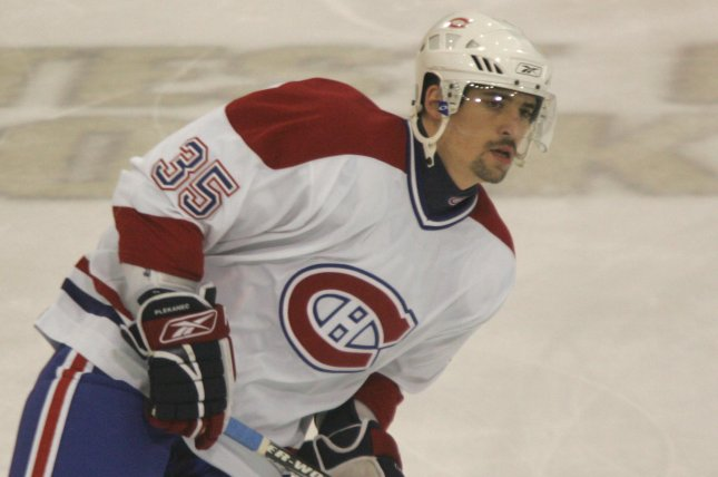 Tomas Plekanec missed his first game in almost three years when he did not dress for the Montreal Canadiens in their game against the Vancouver Canucks on Tuesday night due to an upper-body injury. File Photo by Stephen Gross/UPI