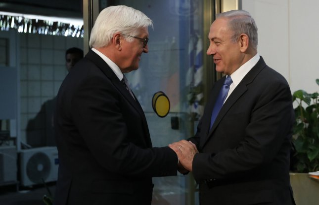 Israel Prime Minister Benjamin Netanyahu (R) welcomes German President Frank-Walter Steinmeier at his office in Jerusalem on Sunday. Photo by Ronen Zvulun/UPI