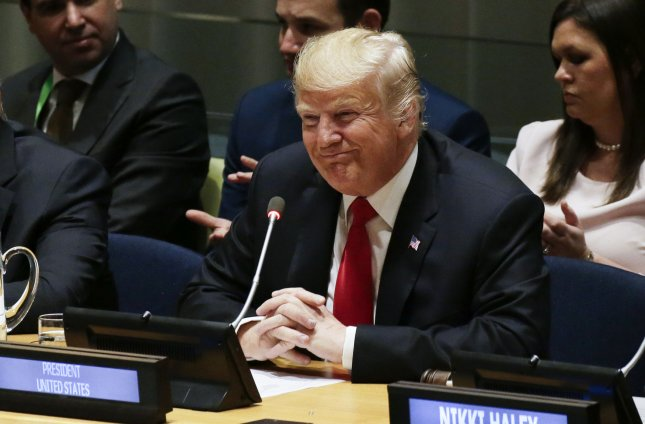 President Donald Trump smiles before speaking at the Global Call To Action on the World Drug Problem at the 73rd General Debate at the United Nations General Assembly at United Nations Headquarters at in New York City on Monday. According to a Gallup poll, Republicans are the most popular the party has been in seven years. Photo by John Angelillo/UPI