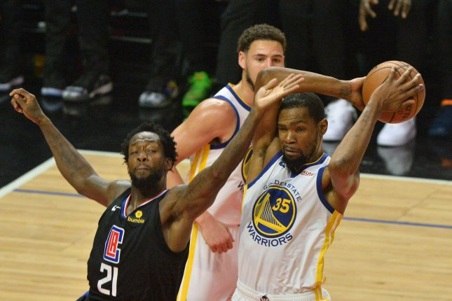 Golden State Warriors' forward Kevin Durant (35) has not played since injuring his calf against the Houston Rockets in the second round of the Western Conference playoffs. File Photo by Jim Ruymen/UPI