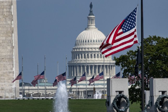 The U.S. Capitol is seen, with the Washington Monument at left and the National World War II Memorial at lower right, on the National Mall in Washington, D.C. File Photo by Pat Benic/UPI