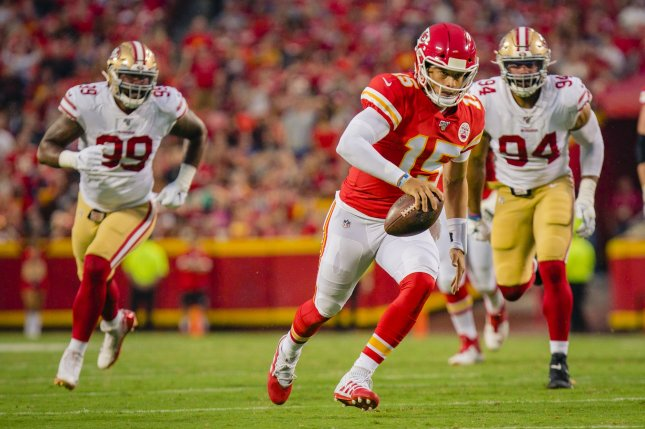 Kansas City Chiefs quarterback Patrick Mahomes (15) hasn't played since suffering a dislocated kneecap during the team's win over the Denver Broncos on Oct. 17. File Photo by Kyle Rivas/UPI
