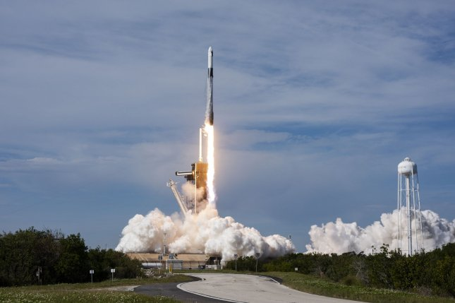A SpaceX Falcon 9 rocket launches a Dragon 2 spacecraft to the International Space Station from Launch Complex 39A at 11:17 a.m. Sunday from the Kennedy Space Center. Photo by Joe Marino/UPI