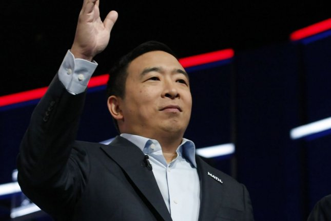 Andrew Yang announced Tuesday that he tested positive for COVID-19 and would move his campaign for New York City mayor virtual as he quarantines. Photo by Tami Chappell/UPI