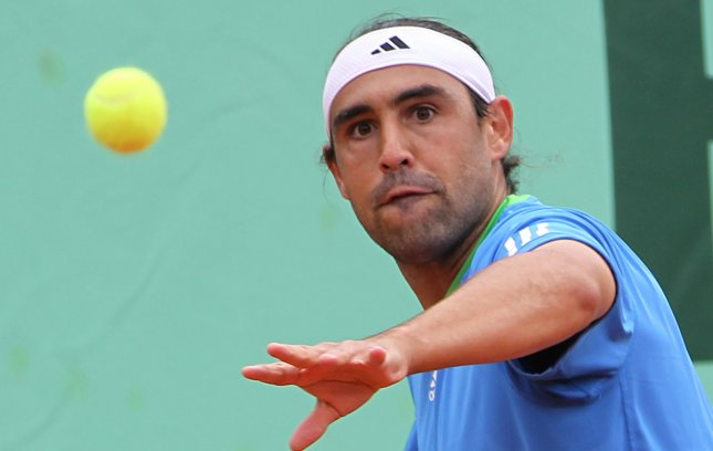Marcos Baghdatis, shown in a May 2011 file photo, defeated defending champion Ivan Dodig in the quarterfinals Friday at the ATP tournament in Croatia. UPI/David Silpa