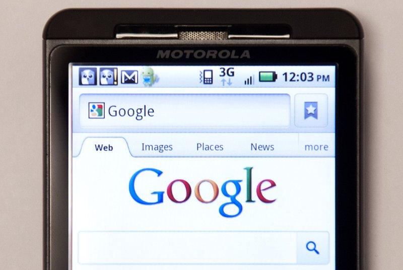 A Motorola Droid phone displays Google's homepage. UPI/Kevin Dietsch