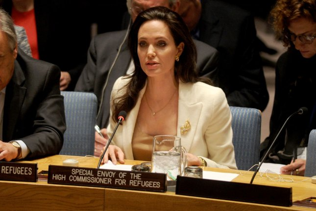 United Nations Special Envoy for Refugee Issues and Actress Angelina Jolie speaks during a Security Council meeting about the current refugee crisis in Syria at United Nations headquarters in New York City on April 24, 2015. Photo by Dennis Van Tine/UPI