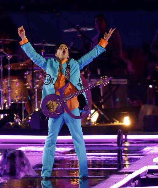 Prince performs at half time at Super Bowl XLI at Dolphin Stadium in Miami in 2007. Prince died in April at his Paisley Park estate in Minnesota. Photo by John Angelillo/UPI