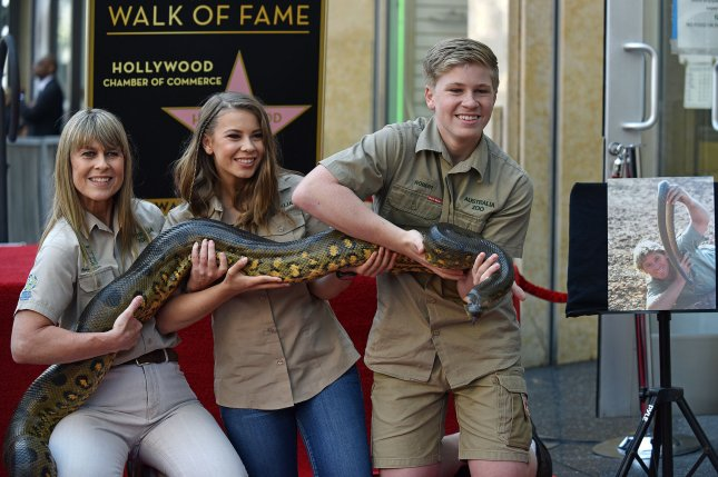 Left to right, late animal activist Steve Irwin's wife Terri, their daughter Bindi and son Robert. The trio appeared on Today and showcased a number of wild animals. File Photo by Chris Chew/UPI