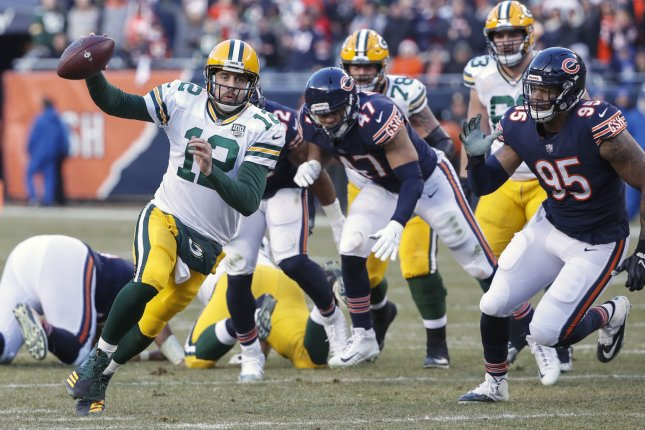 Green Bay Packers quarterback Aaron Rodgers scrambles during a game against the Chicago Bears during a game at Soldier Field on December 16, 2018. Photo by Kamil Krzaczynski/UPI