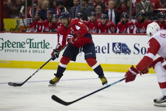 Washington Capitals left wing Alex Ovechkin (8) scored the shootout winner against the New York Rangers on Sunday. File Photo by Alex Edelman/UPI