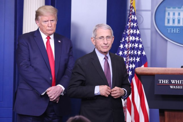 President Donald Trump on Monday criticized the director of the National Institute of Allergy and Infectious Diseases, Dr. Anthony Fauci, while downplaying the COVID-19 pandemic at a pair of rallies in Arizona. File Photo by Michael Reynolds/UPI