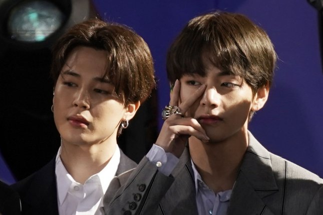 A Korean costume worn by Jimin (L) of BTS during a televised performance is to go on auction, a South Korean company in charge of the sale said Monday. File Photo by John Angelillo/UPI