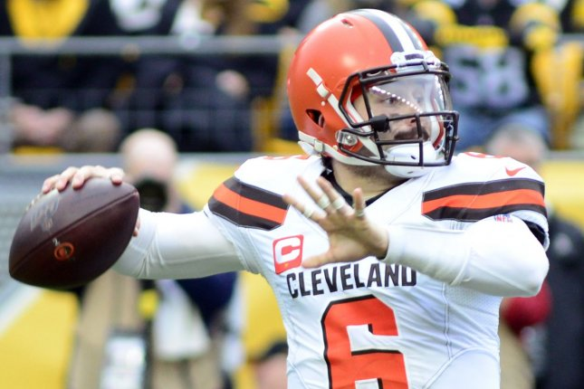 Cleveland Browns quarterback Baker Mayfield led the team to 11 regular-season wins in 2020 and is now under contract through 2022. File Photo by Archie Carpenter/UPI