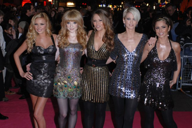 British pop group Girls Aloud attend the world premiere of St. Trinian's in London in 2007. Singer Sarah Harding, second from the right, died Sunday at the age of 39. File Photo by Rune Hellestad/UPI