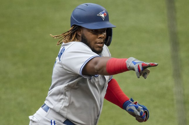 Toronto Blue Jays first baseman Vladimir Guerrero Jr. hit his 45th home run of the season in a win over the Tampa Bay Rays on Monday in Toronto. File Photo by Kevin Dietsch/UPI