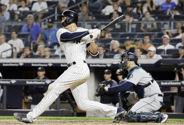 Giancarlo Stanton and the New York Yankees face the Tampa Bay Rays on Tuesday. Photo by John Angelillo/UPI