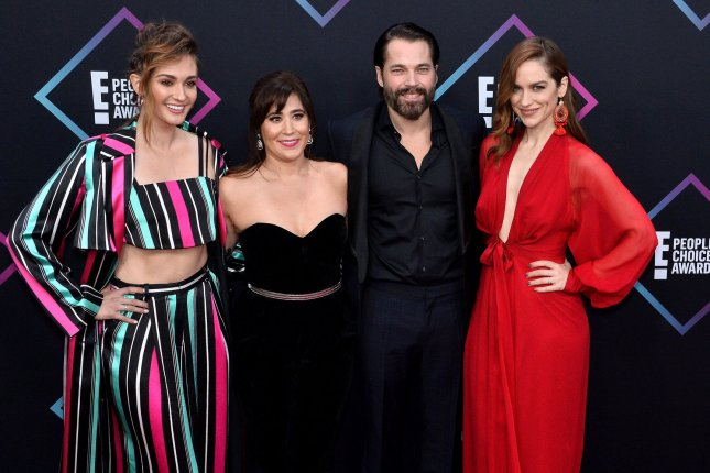 L-R Katherine Barrell, Emily Andras, Tim Rozon and Melanie Scrofano arrive for the 44th annual E! People's Choice Awards in Santa Monica in 2018. Their show Wynonna Earp is ending with its current, fourth season. File Photo by Jim Ruymen/UPI