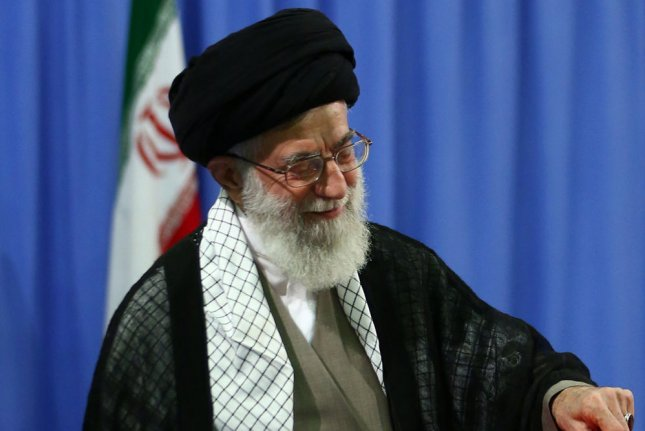 Ayatollah Ali Khamenei, the supreme leader of Iran, in a handout picture made available by the Ayatollah's official website. On April 19, 2015, Khamenei said the United States created the myth of nuclear weapons in order to paint Iran as a threat. The remark comes a detailed negotiations over Iran's nuclear program are set to resume in Vienna this week. UPI