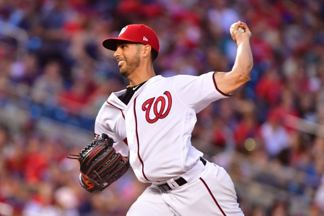 Washington Nationals starting pitcher Gio Gonzalez (47) throws a pitch. File photo by Kevin Dietsch/UPI