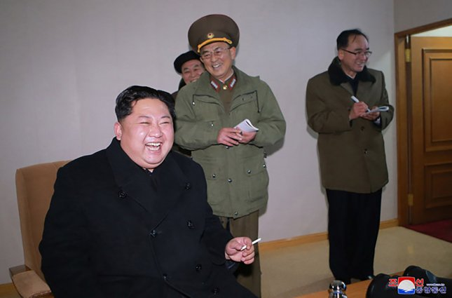 This image released on November 29, 2017, by the North Korean Official News Service (KCNA), shows North Korean leader Kim Jong Un observes the test-fire of the country's Hwasong-15 long-range ballistic missile. North Korea claims the upgraded intercontinental ballistic missile can carry a super-size nuclear warhead while targeting the whole U.S. mainland. Photo by KCNA/UPI