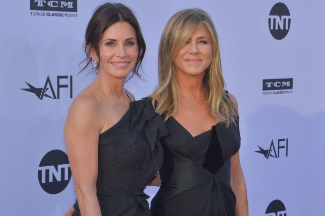 Jennifer Aniston (R), pictured with Courteney Cox, discussed the possibility of a Friends revival. File Photo by Jim Ruymen/UPI