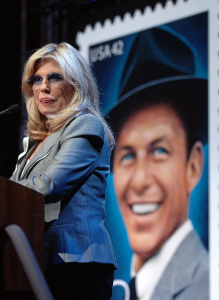 Nancy Sinatra speaks at a U.S.Postal Service ceremony launching a special 42 cent stamp honoring her father Frank Sinatra on the 10th anniversary of his death in New York on May 13, 2008. (UPI Photo/Ezio Petersen)