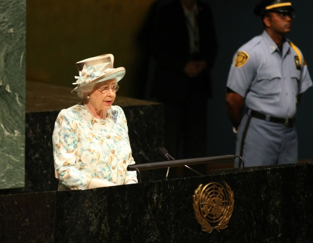 Queen Elizabeth II, 84, of Britain, addresses the General Assembly at the United Nations on July 6, 2010 in New York. The speech marks her second appearance ever at the UN, the first taking place in 1957, as she makes a brief visit to the city. UPI Photo/Monika Graff.