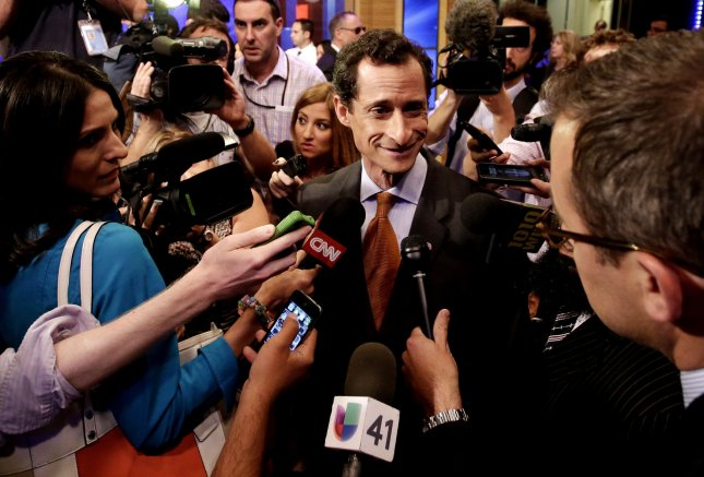 Democratic candidate for mayor of New York, Anthony Weiner, in New York, Aug. 13, 2013. UPI/John Angelillo