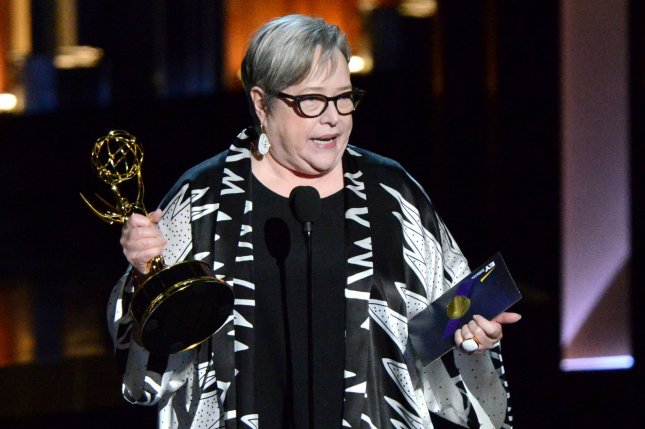 Kathy Bates accepts the award for outstanding supporting actress in a miniseries or a movie for her work on American Horror Story: Coven at the Primetime Emmy Awards at the Nokia Theatre in Los Angeles on August 25, 2014. UPI/Pat Benic
